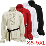 2049 New Men Medieval Renaissance Pirate Shirt Man 18th Century Duke Long Sleeve Tshirts Plus Size XS-5XL (Without Belt)