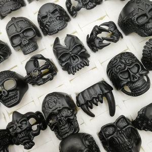 Fashion newest 20pcs/lot Gothic Punk Skull Rings black Tough Guy retro mix Styles Men's Women's Jewelry Gift size:18mm-22mm)