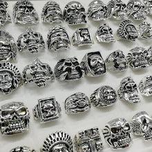 Load image into Gallery viewer, Fashion newest 20pcs/lot Gothic Punk Skull Rings black Tough Guy retro mix Styles Men's Women's Jewelry Gift size:18mm-22mm)