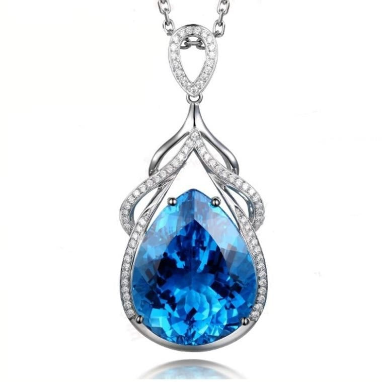New Jewelry Fashion Natural Gemstone Water drop Aquamarine 925 Sterling Silver Diamonds Pendant Necklace Ornament