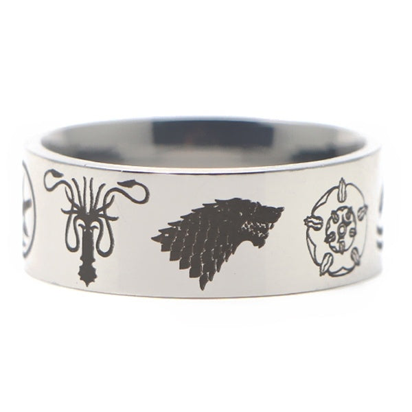 P3841 Game of Thrones TV Ring Stainless Steel Rings for Women Men Party Fashion Black Silver Rings Jewelry