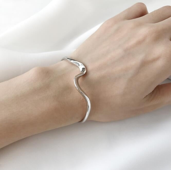Top Quality Silver Plated & Stamped 925 Simple Twisted Open Ring Bracelet Bangle Cuff Bracelet for Woman Gifts