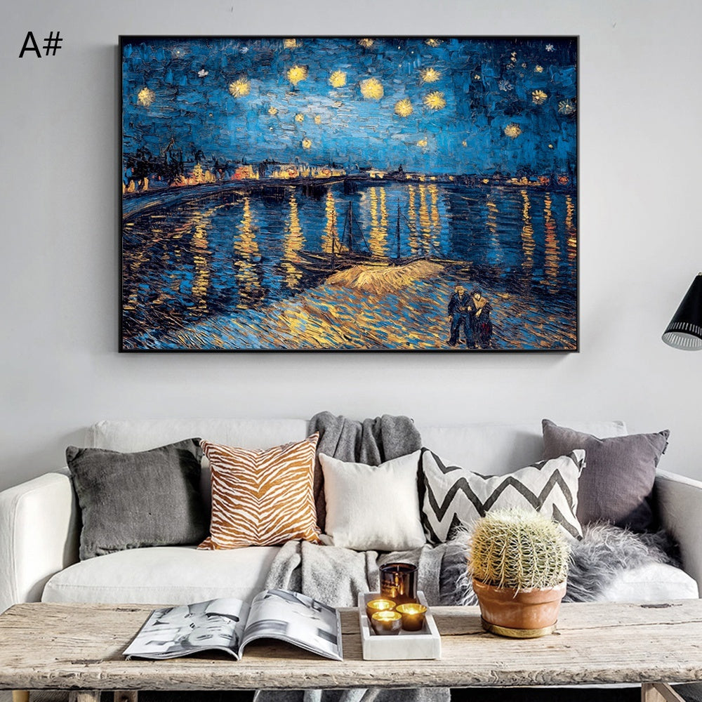 Van Gogh Starry Night Canvas Paintings Replica On The Wall Impressionist Starry Night Canvas Pictures For Living Room(No Frame)