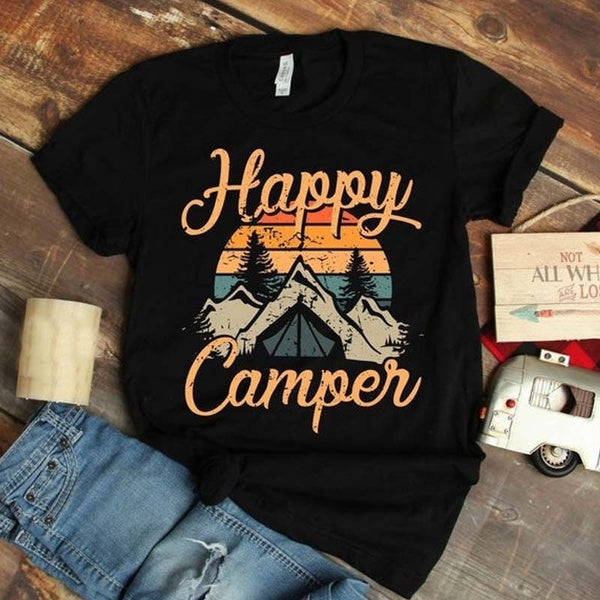 (US Size) Women's Fashion Summer Happy Camper Picture Printed T Shirt Summer Casual Short Sleeve Tee Shirt Loose Cotton Shirts Plus Size XS-5XL