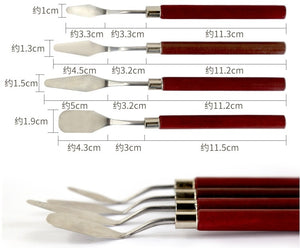 4PCS Professional Artist Wooden Handle Creative Lovers Art Students and Teachers Stainless Steel Palette Knife Scraper Spatula Oil Painting Tools Painting Accessories Art Supplies