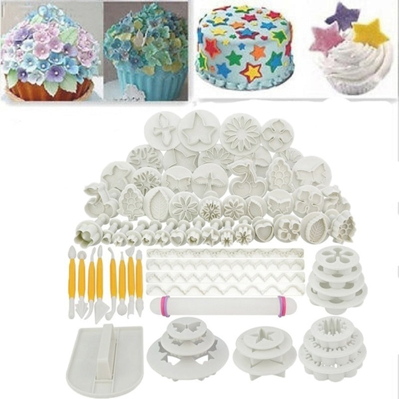 46/47 Pcs Sugarcraft Cake Decorating Cake Mould Fondant Plunger Cutters Tools Mold