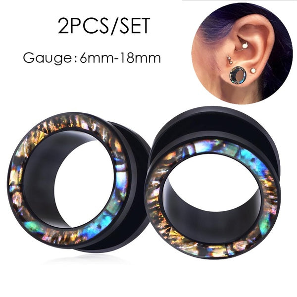 2pcs/ lot Hot Sale Acrylic Ear Plugs Tunnels Flesh Expansions Piercing Gauge Shell Kits Stretcher Earring Gauges Body Jewelry Body Piercing Gauges Jewelry for Women Men