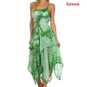 Robe Femme Plus Size Sleeveless Dresses Summer Women Lace Up Irregular Dresses Printed Tunic Sling Dresses