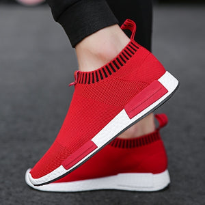 Men's Fashion Light Weight Comfortable Running Shoes for Man Casual Fly Woven Slip on Sock Shoes Breathable Sport Shoes_Ct