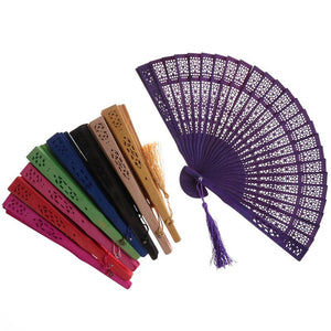 New Vintage Bamboo Folding Hand Held Flower Fan Chinese Dance Party Gifts Bamboo Fan
