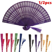 Load image into Gallery viewer, New Vintage Bamboo Folding Hand Held Flower Fan Chinese Dance Party Gifts Bamboo Fan