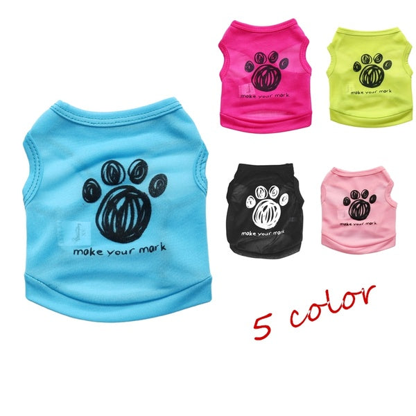 Pet Dog Clothes for Small Dogs Soft Pet Dog Sweater Paw Print Clothing for Dog Summer Clothes