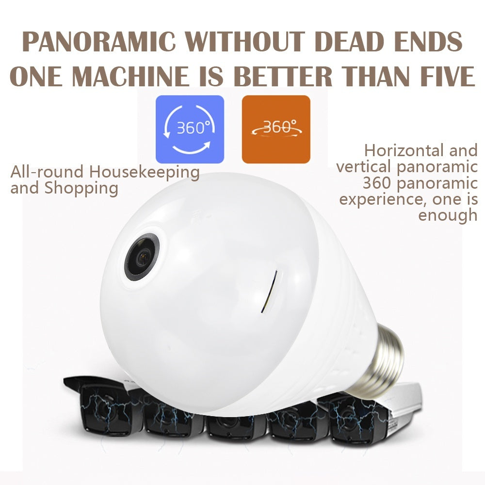 HD Wireless 360¡ã Fisheye Wifi Ip Camera Led Light Night Vision Panoramic Bulb Two-way Audio Romote Control Security Camera System