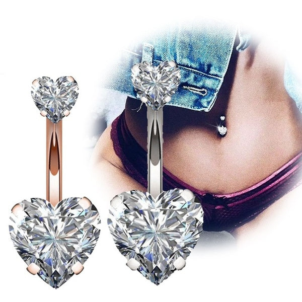 Buy 2 Get 1 Free 316L Surgical Steel 14g Belly Button Rings Clear Diamond Zircon CZ Navel Rings Belly Jewelry  Love Heart White Rose Gold
