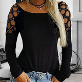 2019 Women Crew Neck Hollow-Out Studded Long Sleeve T Shirts Casual Tops