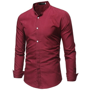 New Hot Fashion Men's Shirt Comfortable Casual Stand Collar Long Sleeve Shirts Tops