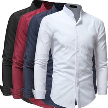 Load image into Gallery viewer, New Hot Fashion Men's Shirt Comfortable Casual Stand Collar Long Sleeve Shirts Tops