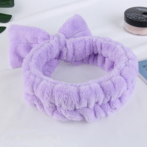 Soft Coral Fleece Make Up Girls Headwear Beauty Hairbands OMG Letters Wash Face Headband Women Bow Hairband