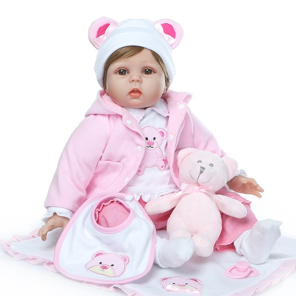 NPK 22 Inch 55cm Weighted Cloth Body Handmade Soft Silicone Reborn Baby Doll Girl Life Looking Newborn Dolls Kids Playmate