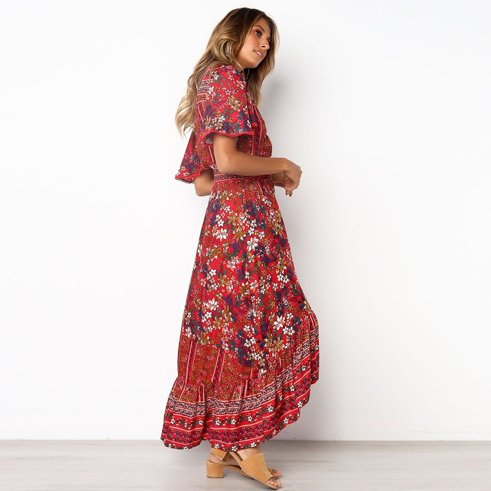 Boho Women Long Dress Floral Print Beach Dress