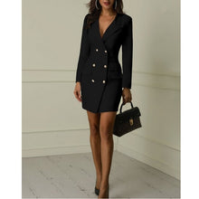 Load image into Gallery viewer, New Woman Office Dresses Elegant Midi Work Dress Business Long Sleeved V-neck Party Coat Dress Plus Size