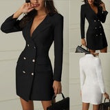 New Woman Office Dresses Elegant Midi Work Dress Business Long Sleeved V-neck Party Coat Dress Plus Size
