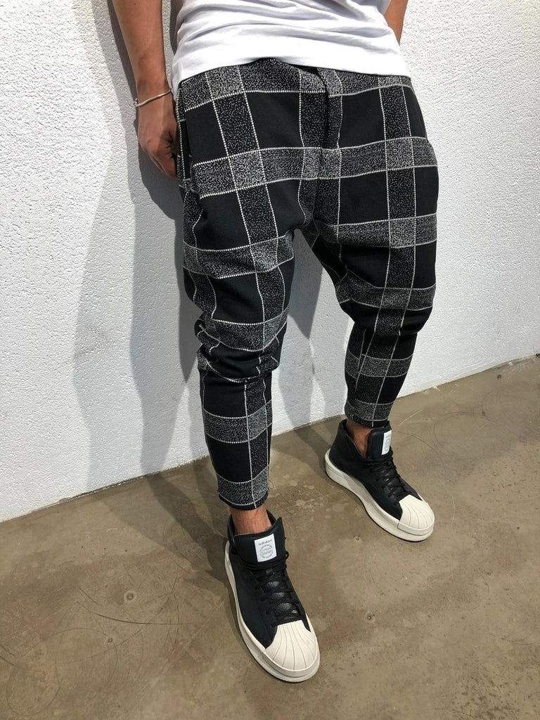 Men's Fashion Plaid 3D Digital Print Casual Pants Gradient Casual Pants