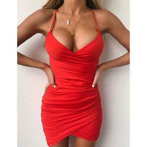 2019 Summer New Women's Fashion Spaghetti Strap Slim Fit Sleeveless Vest Dress Casual Solid Color Low Cut Evening Dress Plus Size S-5XL