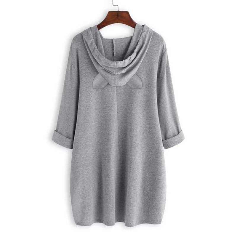 New Women Cute Plus Size Fashion Long Sleeve Round-neck Long Blouse Loose Dress Shirt Solid Color Hoodie
