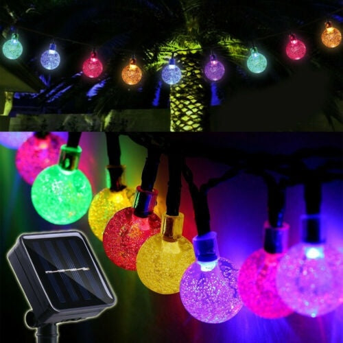 10/20/30LED Solar Super Bright Durable Fairy Light Landscape Lamp Xmas Decor Outdoor Patio Globe Ball String Lights