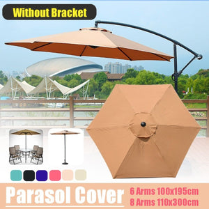 (only Cover) 6/8 Arm 100x195/110x300cm Waterproof Sunshade Beach Umbrella Fabric Cloth Canopy Parasol Tent Cover Patio