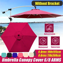 Load image into Gallery viewer, (only Cover) 6/8 Arm 100x195/110x300cm Waterproof Sunshade Beach Umbrella Fabric Cloth Canopy Parasol Tent Cover Patio