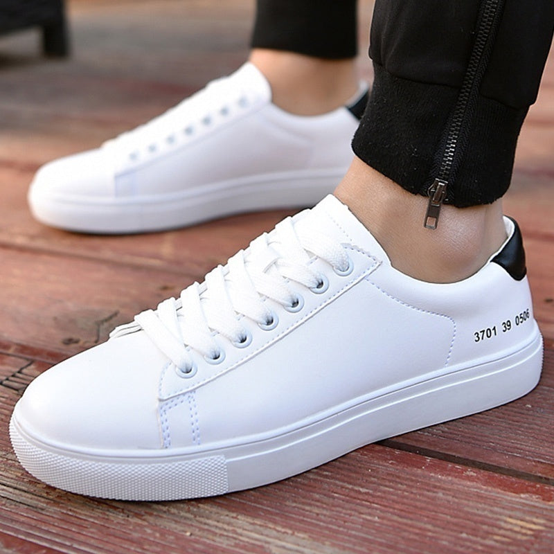 2019 New Shoes White Solid Shallow Sneakers for Boy Breathathable Lace-up Man Shoes