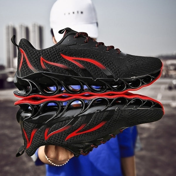 Newst Men Breathable Flying Weave Running Sport Shoes Fashion Casual Flame Printed Mesh Sneakers Outdoor Lightweight Trainers Shoes