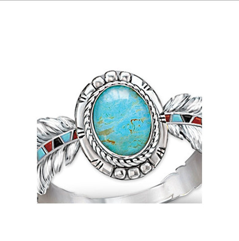 Women Antique Jewelry 925 Sterling Silver Turquoise Natural Gemstone Feather Ring