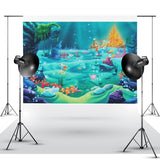 Under Sea Mermaid Backdrop Castle Blue Sea Grass Shell Photography Background Child Kids Baby Birthday Party Decoration Backdrops