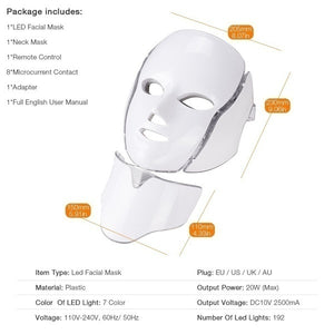 New Style LED 7 Colors Light Photon Face Neck Mask Skin Rejuvenation Therapy Wrinkles 7 Colors Whitening+Acne+massage Suitable for Most Skin Types(Plug of Adapter Would Be Sent According To Your Shipping Country