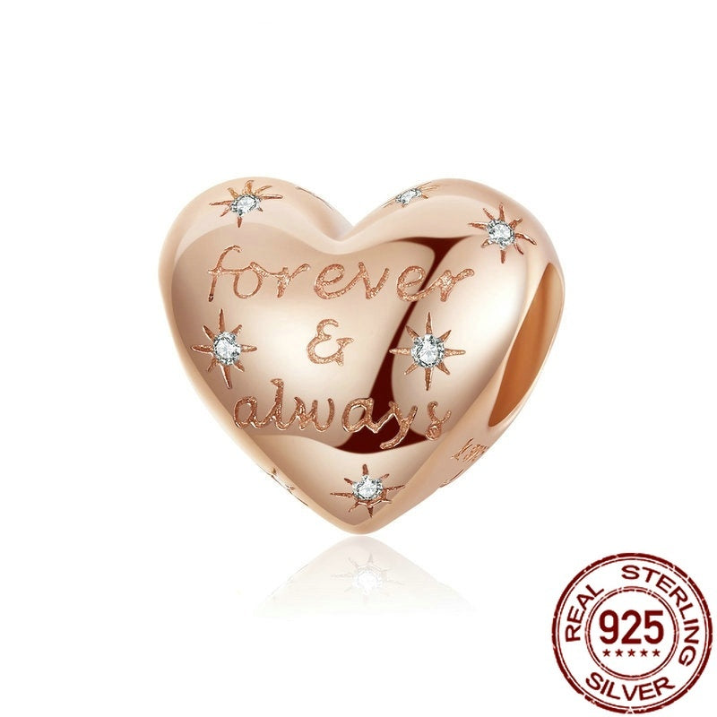 Forever & Always Love Beads Charm 925 Sterling Silver Eternity Beads Rose Gold Charms DIY