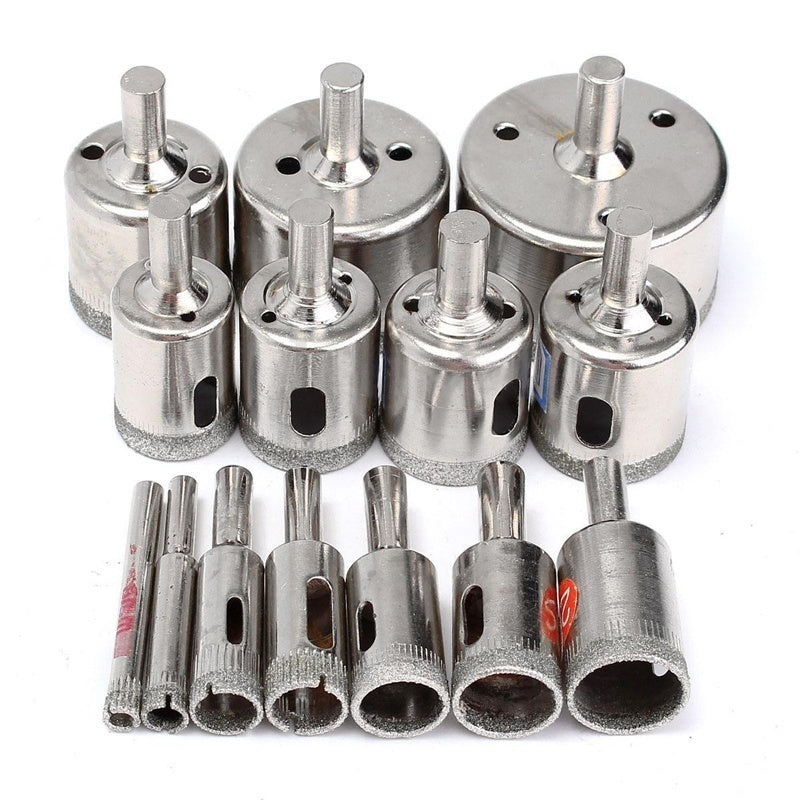 15pcs Useful Diamond Coated Drill Bits Set Tile Marble Glass Ceramic Hole Saw 6mm-50mm