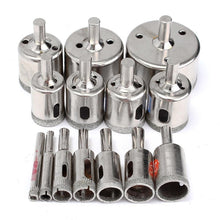 Load image into Gallery viewer, 15pcs Useful Diamond Coated Drill Bits Set Tile Marble Glass Ceramic Hole Saw 6mm-50mm