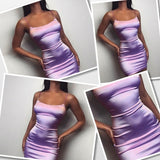 Fashion Sleeveless Party Dress Spaghetti Strap U-neck Slimming Satin Bodycon Dress