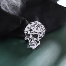 Load image into Gallery viewer, Punk Style 20 Sided Dice Skull Enamel Dungeons & Dragons Collar Pin Badge