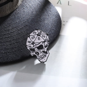Punk Style 20 Sided Dice Skull Enamel Dungeons & Dragons Collar Pin Badge