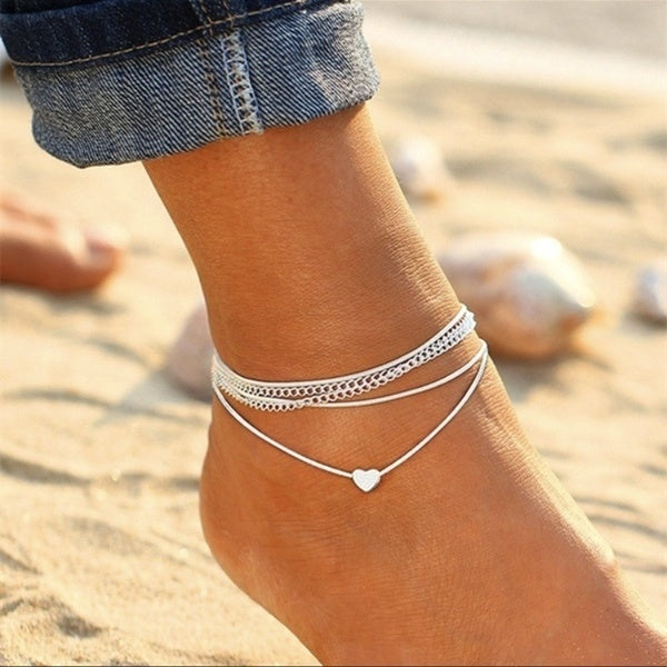 Summer Fashion 925 Silver Love Heart Multilayer Anklet Chain Charm Sandals Anklets For Women Beach Jewelry Accessories