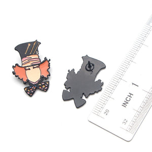 L1430 Mad Hatter Metal Enamel Pins and Brooches for Women Men T-shirt Jewelry Lapel Pin Badge Kids Gifts