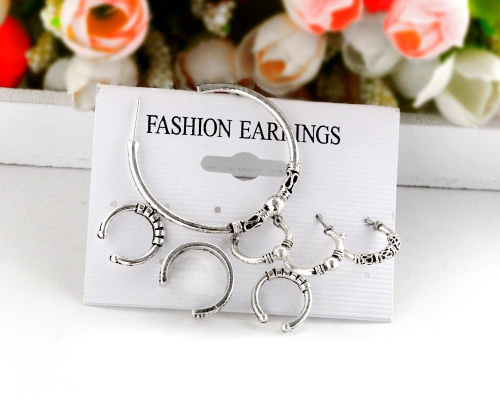 7 pairs of women's cartilage earrings bohemian retro earrings earrings set of seven earrings
