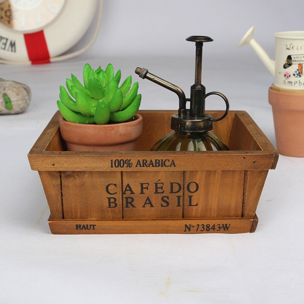Retro Wooden Flowepot Garden Succulent Plant Pot Storage Box Office Flower Bed Pot(No Plant&Flower)