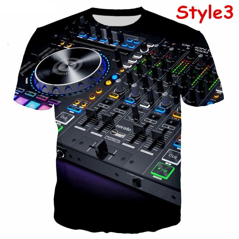 New Fashion DJ 3D Printing T Shirt Unisex Funny Quick-drying Sports Tees Tops