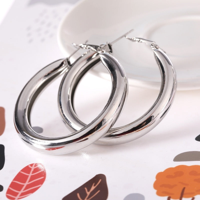 Beautiful Exquisite Punk Rock Thick Big Gold Alloy Round Circle Hoop Earrings for Women oorbellen