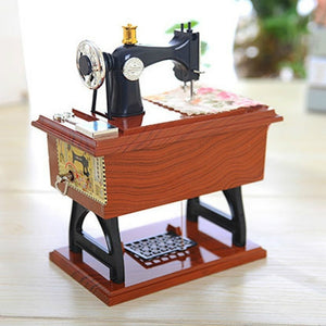Music Box Mini Sewing Machine Style Mechanical Birthday Gift Table Decor